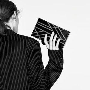Zara  Black  clutch with strap